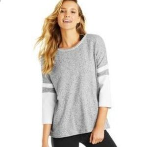 Lorna Jane Gray Faux Leather Sleeve Sweater